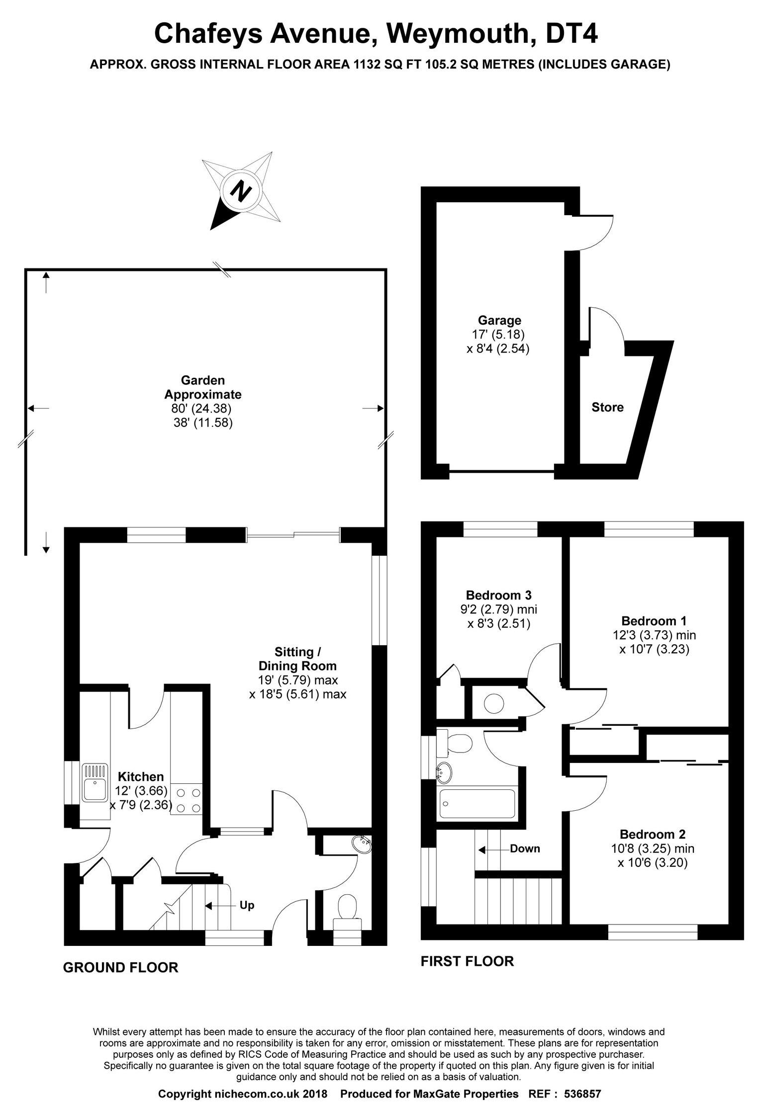 Floorplan for Chafeys Avenue, Weymouth