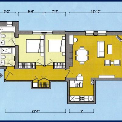 Floorplan for Flat 4, Eldridge Pope Building, Brewery Square